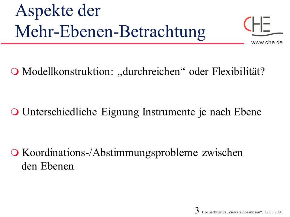 3 Hochschulkurs Zielvereinbarungen, 22.03.2001 www.che.de Aspekte der Mehr-Ebenen-Betrachtung Modellkonstruktion: durchreichen oder Flexibilität? Unte