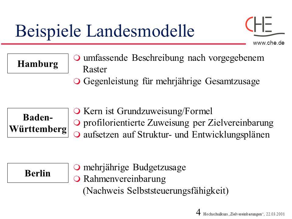 4 Hochschulkurs Zielvereinbarungen, 22.03.2001 www.che.de Beispiele Landesmodelle Hamburg umfassende Beschreibung nach vorgegebenem Raster Gegenleistu