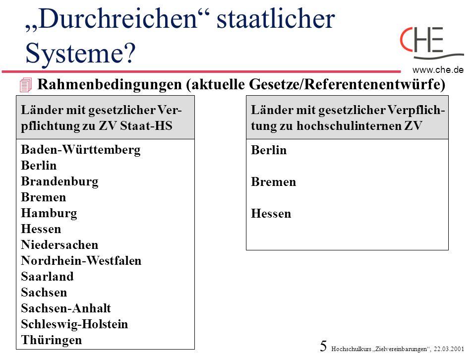 5 Hochschulkurs Zielvereinbarungen, 22.03.2001 www.che.de Durchreichen staatlicher Systeme? 4 Rahmenbedingungen (aktuelle Gesetze/Referentenentwürfe)