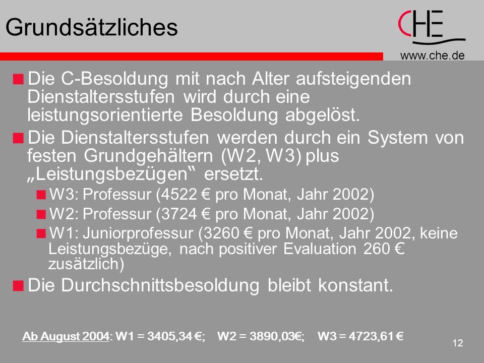 www.che.de 12 Grundsätzliches Die C-Besoldung mit nach Alter aufsteigenden Dienstaltersstufen wird durch eine leistungsorientierte Besoldung abgel ö st.