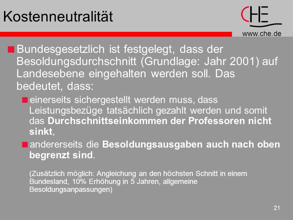 www.che.de 21 Kostenneutralität Bundesgesetzlich ist festgelegt, dass der Besoldungsdurchschnitt (Grundlage: Jahr 2001) auf Landesebene eingehalten werden soll.
