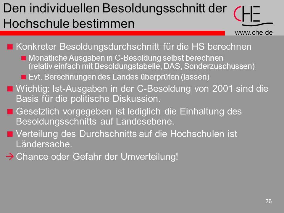 www.che.de 26 Den individuellen Besoldungsschnitt der Hochschule bestimmen Konkreter Besoldungsdurchschnitt für die HS berechnen Monatliche Ausgaben in C-Besoldung selbst berechnen (relativ einfach mit Besoldungstabelle, DAS, Sonderzuschüssen) Evt.