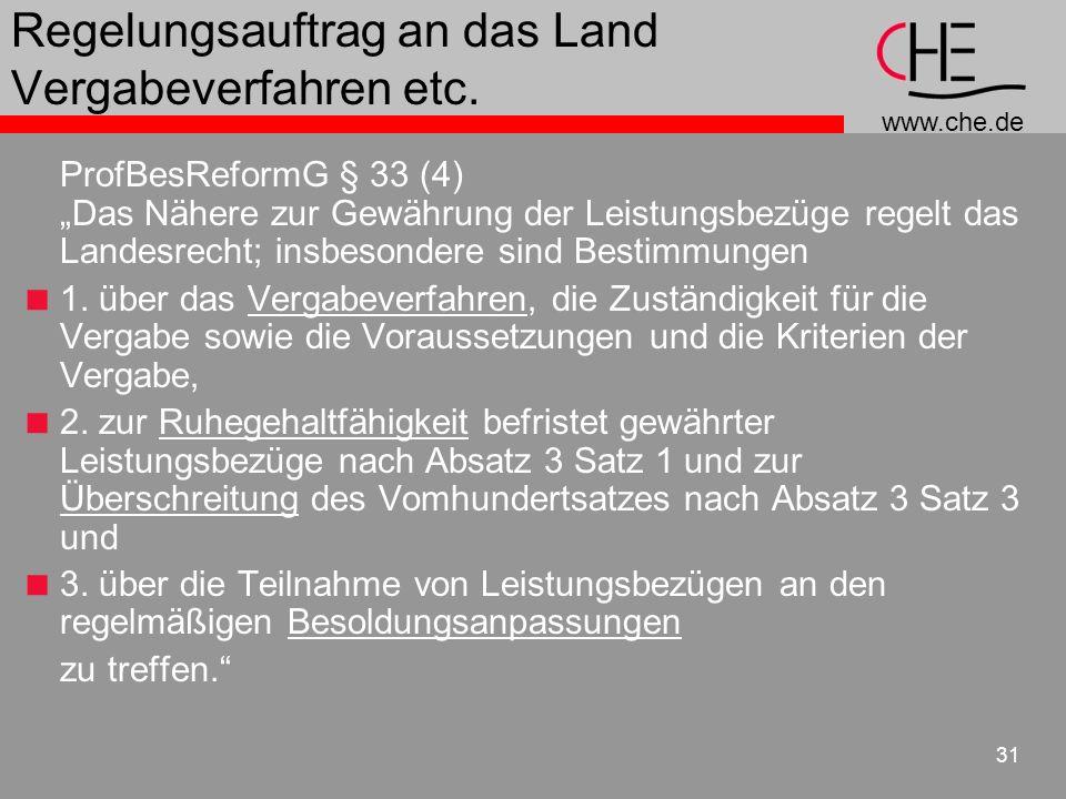 www.che.de 31 Regelungsauftrag an das Land Vergabeverfahren etc.