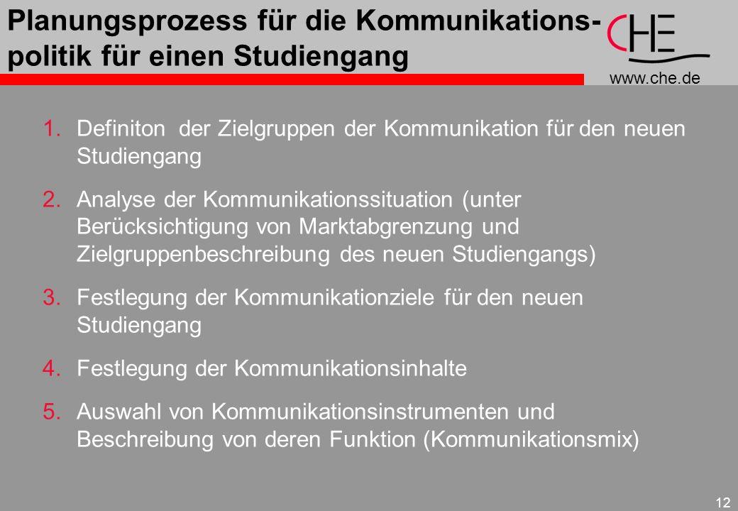 www.che.de 12 Planungsprozess für die Kommunikations- politik für einen Studiengang 1.Definiton der Zielgruppen der Kommunikation für den neuen Studie