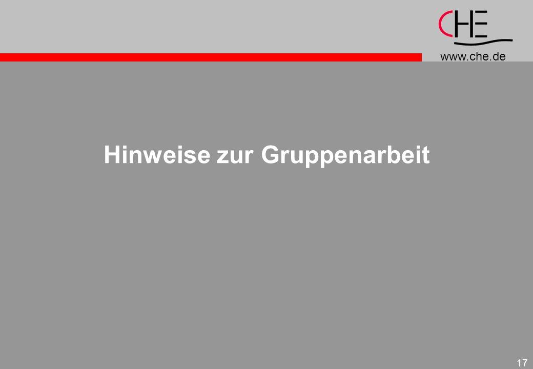 www.che.de 17 Hinweise zur Gruppenarbeit