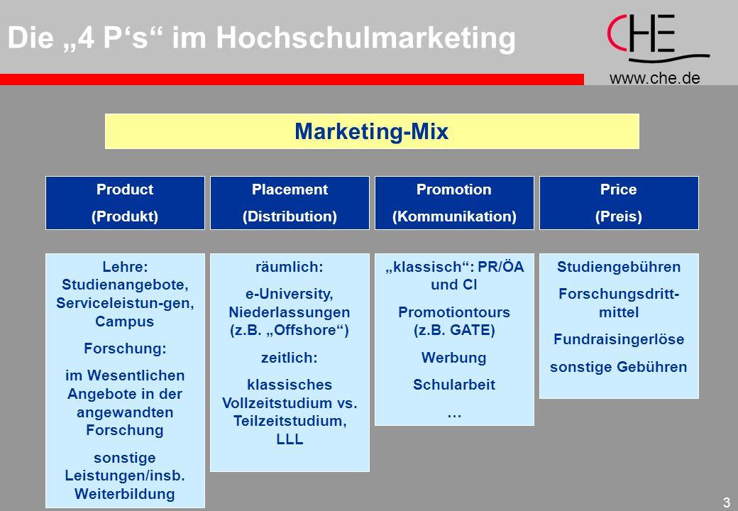 www.che.de 3 Die 4 Ps im Hochschulmarketing Marketing-Mix Placement (Distribution) Product (Produkt) Price (Preis) Promotion (Kommunikation) Lehre: St