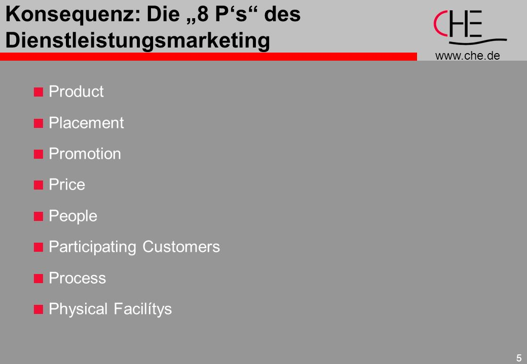 www.che.de 5 Konsequenz: Die 8 Ps des Dienstleistungsmarketing Product Placement Promotion Price People Participating Customers Process Physical Facil