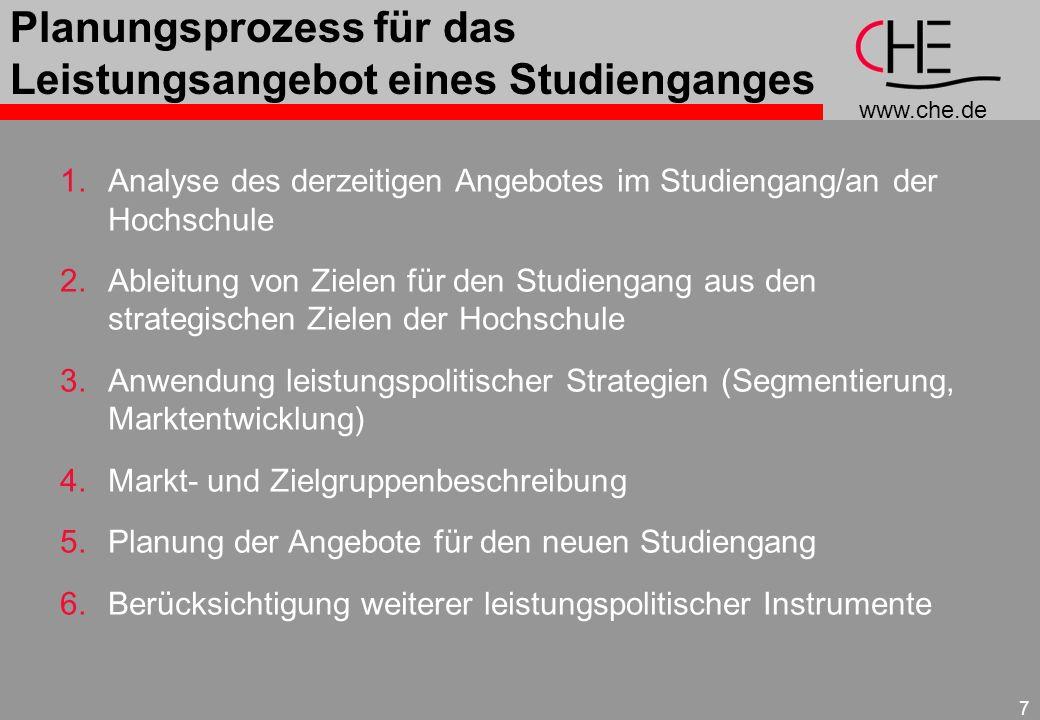 www.che.de 7 Planungsprozess für das Leistungsangebot eines Studienganges 1.Analyse des derzeitigen Angebotes im Studiengang/an der Hochschule 2.Ablei