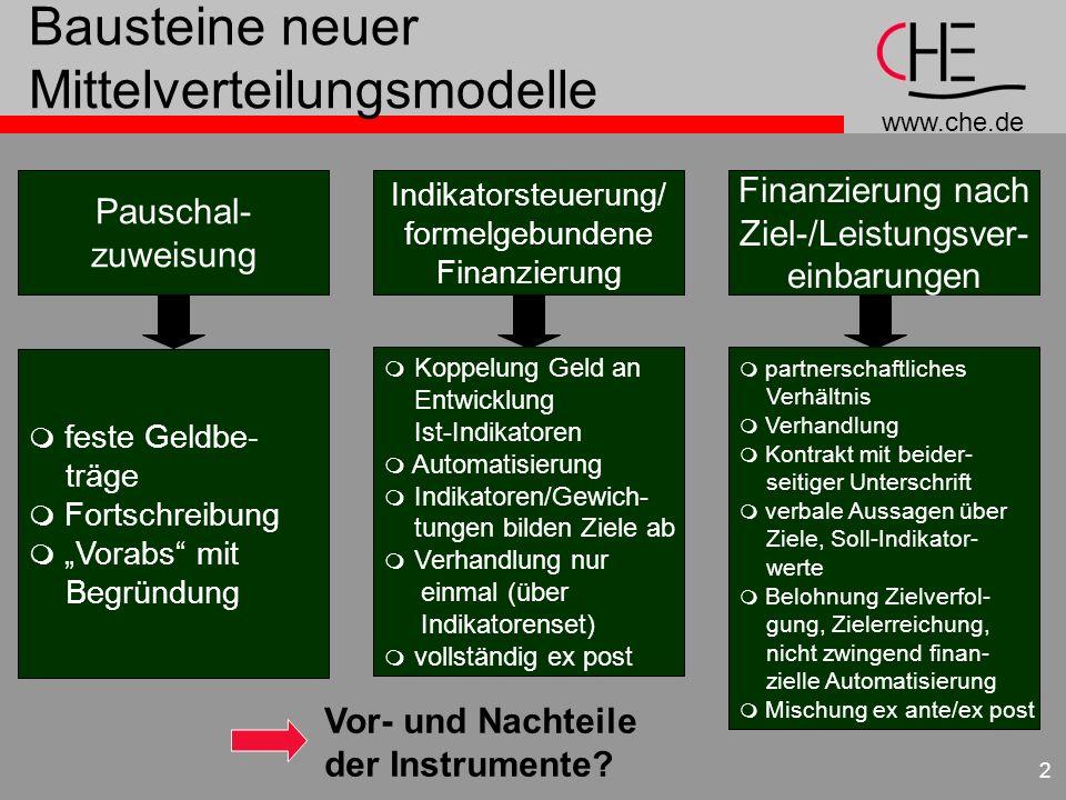 www.che.de 2 Bausteine neuer Mittelverteilungsmodelle Pauschal- zuweisung Indikatorsteuerung/ formelgebundene Finanzierung Finanzierung nach Ziel-/Lei