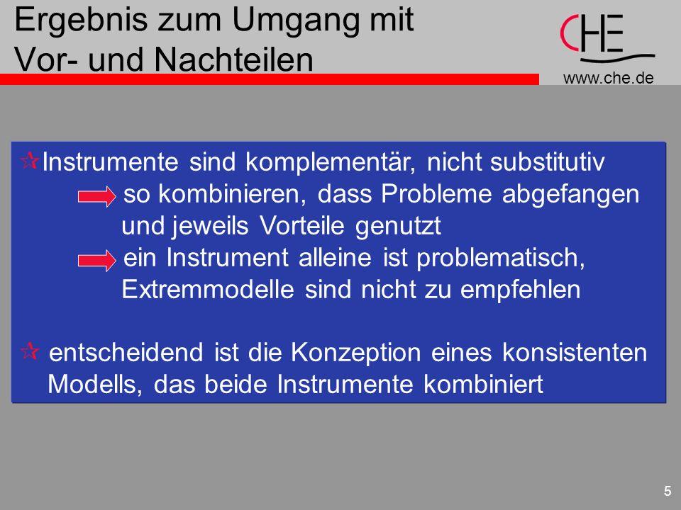 www.che.de 5 Ergebnis zum Umgang mit Vor- und Nachteilen ¶Instrumente sind komplementär, nicht substitutiv so kombinieren, dass Probleme abgefangen un