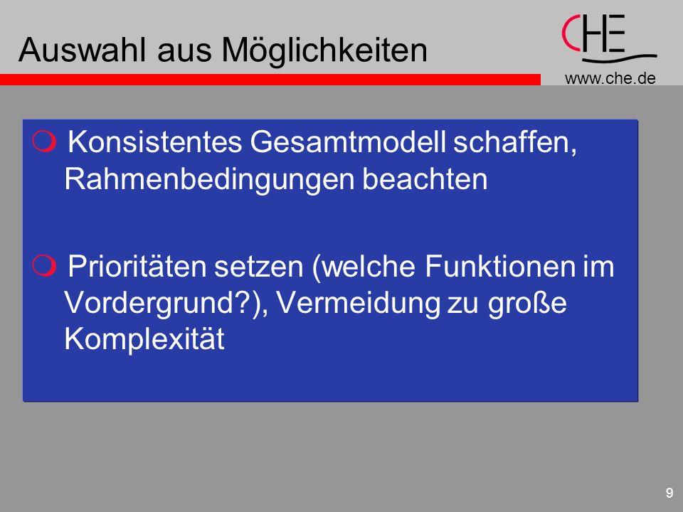 www.che.de 9 Auswahl aus Möglichkeiten Konsistentes Gesamtmodell schaffen, Rahmenbedingungen beachten Prioritäten setzen (welche Funktionen im Vorderg