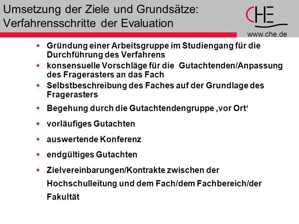 www.che.de 9 Umsetzung der Ziele und Grundsätze: Verfahrensschritte der Evaluation Gründung einer Arbeitsgruppe im Studiengang für die Durchführung de