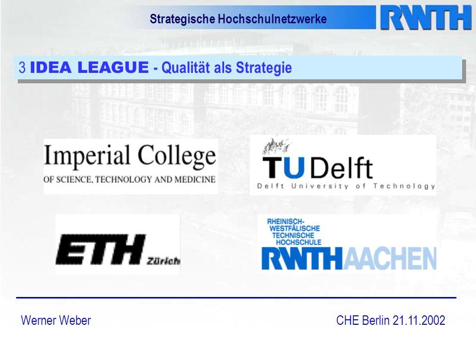 Strategische Hochschulnetzwerke Werner Weber CHE Berlin 21.11.2002 3 IDEA LEAGUE - Qualität als Strategie