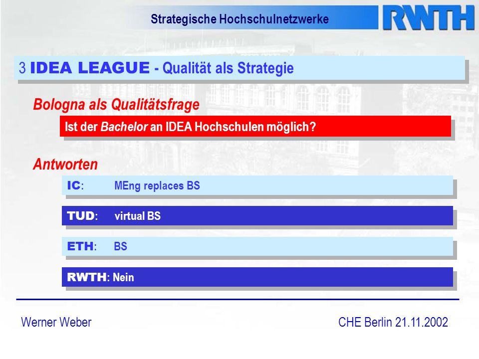 Strategische Hochschulnetzwerke Werner Weber CHE Berlin 21.11.2002 3 IDEA LEAGUE - Qualität als Strategie IC : MEng replaces BS Bologna als Qualitätsfrage Ist der Bachelor an IDEA Hochschulen möglich.