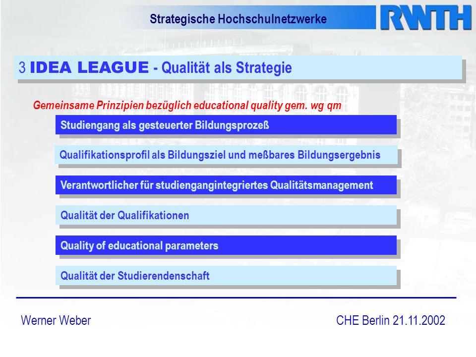 Strategische Hochschulnetzwerke Werner Weber CHE Berlin 21.11.2002 3 IDEA LEAGUE - Qualität als Strategie Gemeinsame Prinzipien bezüglich educational quality gem.