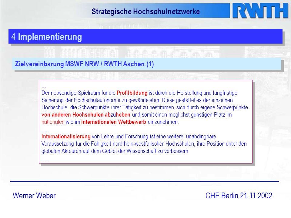 Strategische Hochschulnetzwerke Werner Weber CHE Berlin 21.11.2002 4 Implementierung Zielvereinbarung MSWF NRW / RWTH Aachen (1)...