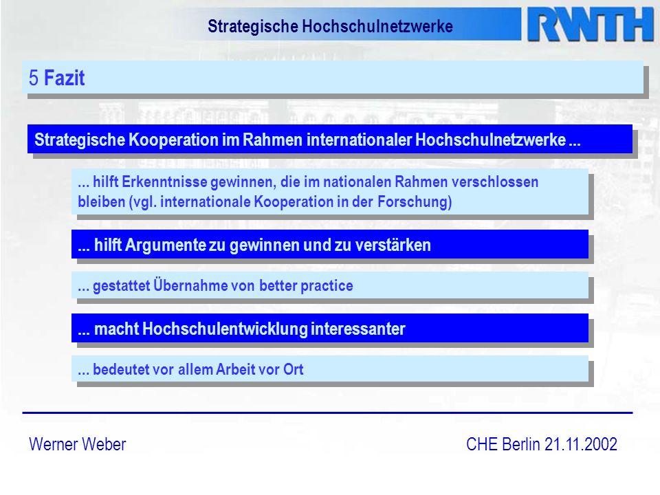 Strategische Hochschulnetzwerke Werner Weber CHE Berlin 21.11.2002 5 Fazit Strategische Kooperation im Rahmen internationaler Hochschulnetzwerke......