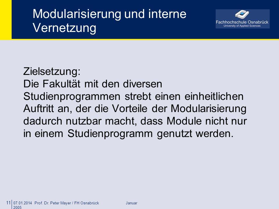 07.01.2014 Prof. Dr. Peter Mayer / FH Osnabrück Januar 2005 11 Modularisierung und interne Vernetzung Zielsetzung: Die Fakultät mit den diversen Studi