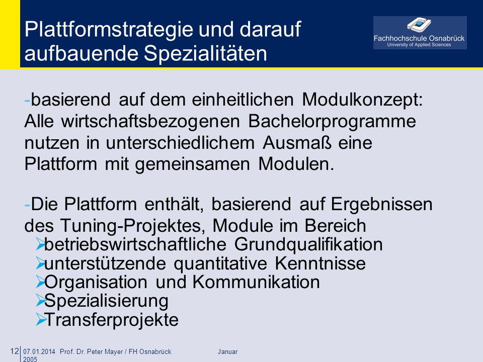 07.01.2014 Prof. Dr. Peter Mayer / FH Osnabrück Januar 2005 12 Plattformstrategie und darauf aufbauende Spezialitäten -basierend auf dem einheitlichen