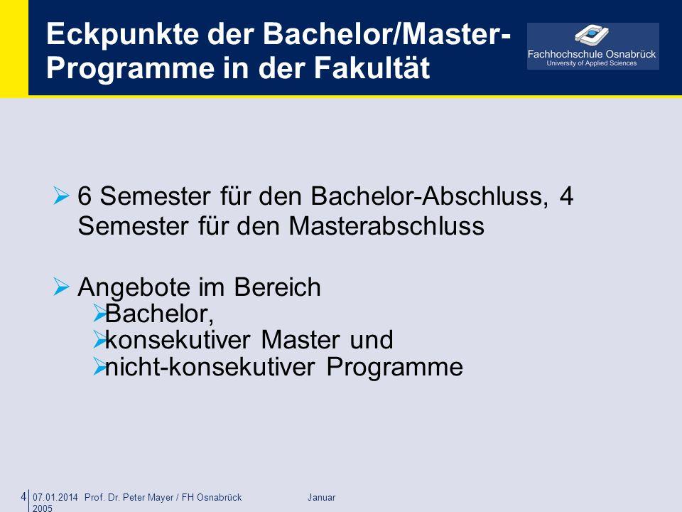 07.01.2014 Prof. Dr. Peter Mayer / FH Osnabrück Januar 2005 4 Eckpunkte der Bachelor/Master- Programme in der Fakultät 6 Semester für den Bachelor-Abs