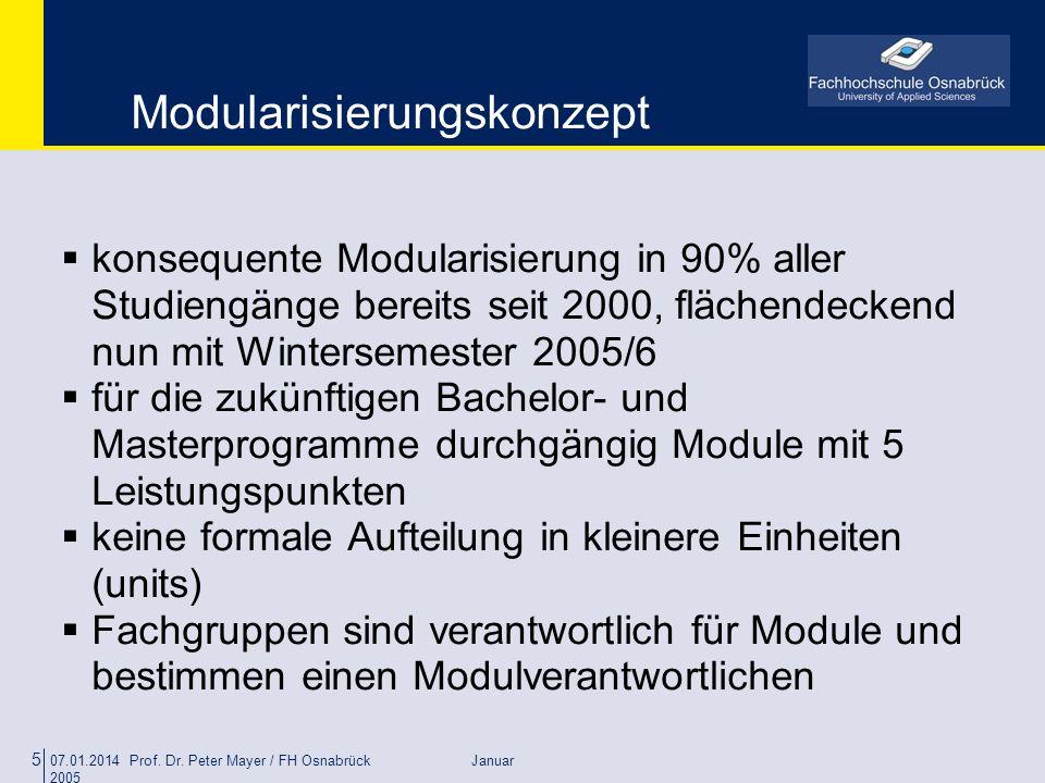 07.01.2014 Prof. Dr. Peter Mayer / FH Osnabrück Januar 2005 5 Modularisierungskonzept konsequente Modularisierung in 90% aller Studiengänge bereits se