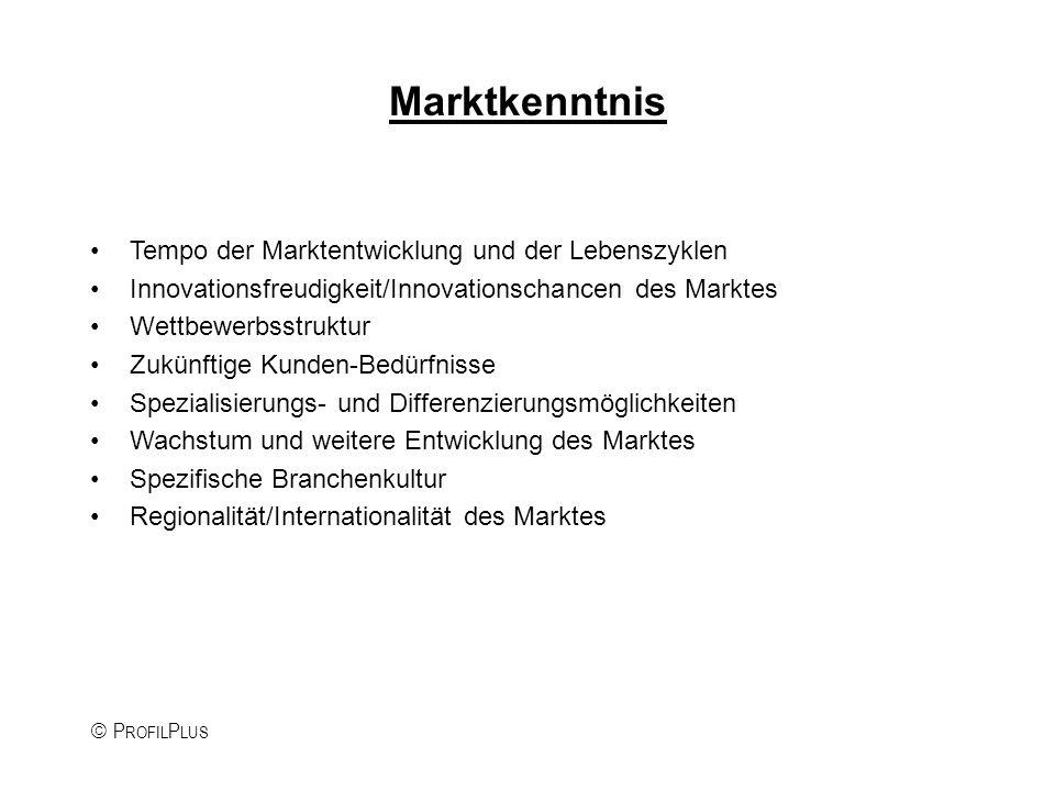 P ROFIL P LUS Marktkenntnis Tempo der Marktentwicklung und der Lebenszyklen Innovationsfreudigkeit/Innovationschancen des Marktes Wettbewerbsstruktur Zukünftige Kunden-Bedürfnisse Spezialisierungs- und Differenzierungsmöglichkeiten Wachstum und weitere Entwicklung des Marktes Spezifische Branchenkultur Regionalität/Internationalität des Marktes