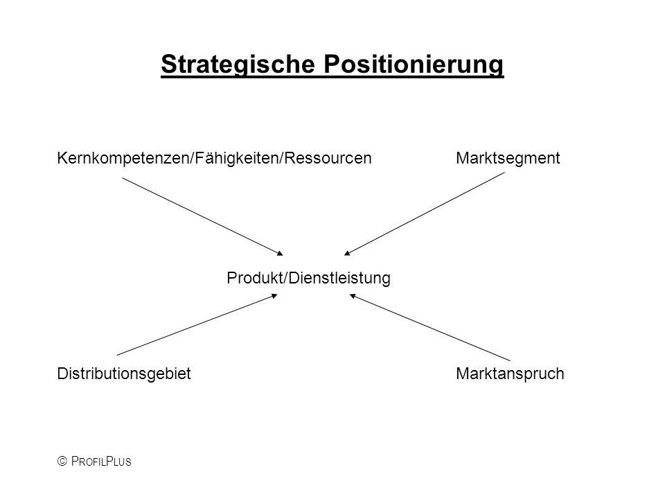 P ROFIL P LUS Strategische Positionierung Kernkompetenzen/Fähigkeiten/RessourcenMarktsegment Produkt/Dienstleistung DistributionsgebietMarktanspruch