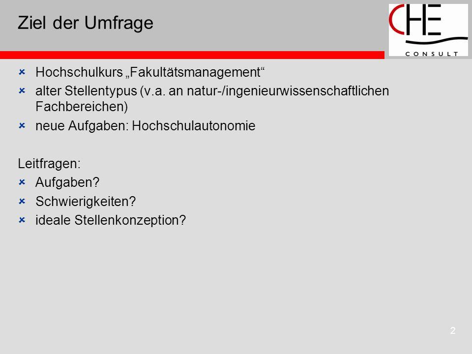 2 Ziel der Umfrage Hochschulkurs Fakultätsmanagement alter Stellentypus (v.a.