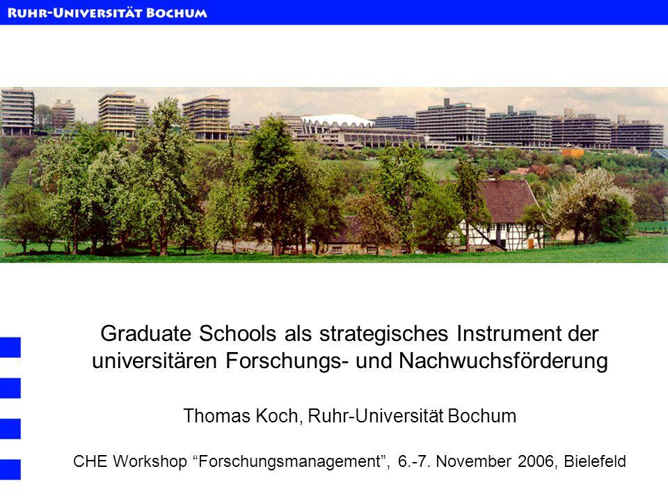 Graduate Schools als strategisches Instrument der universitären Forschungs- und Nachwuchsförderung Thomas Koch, Ruhr-Universität Bochum CHE Workshop F