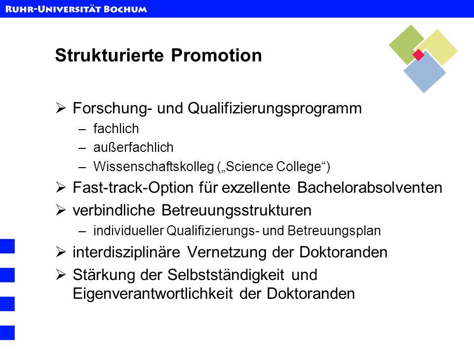 Strukturierte Promotion Forschung- und Qualifizierungsprogramm –fachlich –außerfachlich –Wissenschaftskolleg (Science College) Fast-track-Option für e