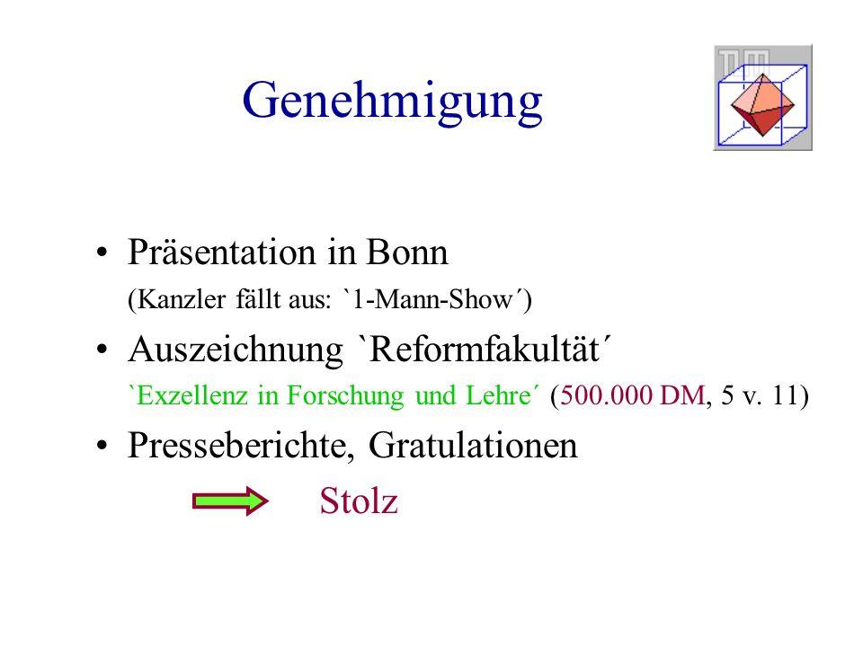 Genehmigung Präsentation in Bonn (Kanzler fällt aus: `1-Mann-Show´) Auszeichnung `Reformfakultät´ `Exzellenz in Forschung und Lehre´ (500.000 DM, 5 v.