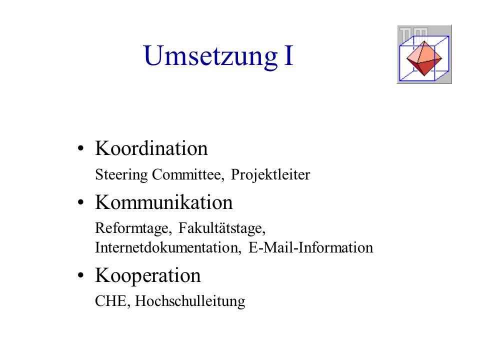 Umsetzung I Koordination Steering Committee, Projektleiter Kommunikation Reformtage, Fakultätstage, Internetdokumentation, E-Mail-Information Kooperation CHE, Hochschulleitung
