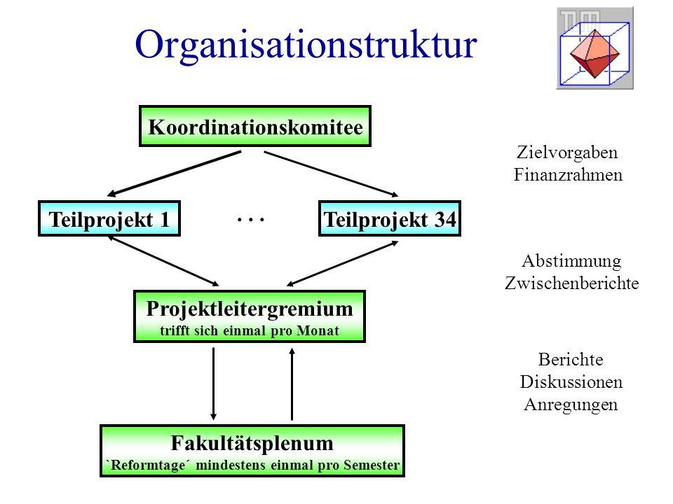 Organisationstruktur Koordinationskomitee Teilprojekt 1 Projektleitergremium trifft sich einmal pro Monat Fakultätsplenum `Reformtage´ mindestens einmal pro Semester Teilprojekt 34...
