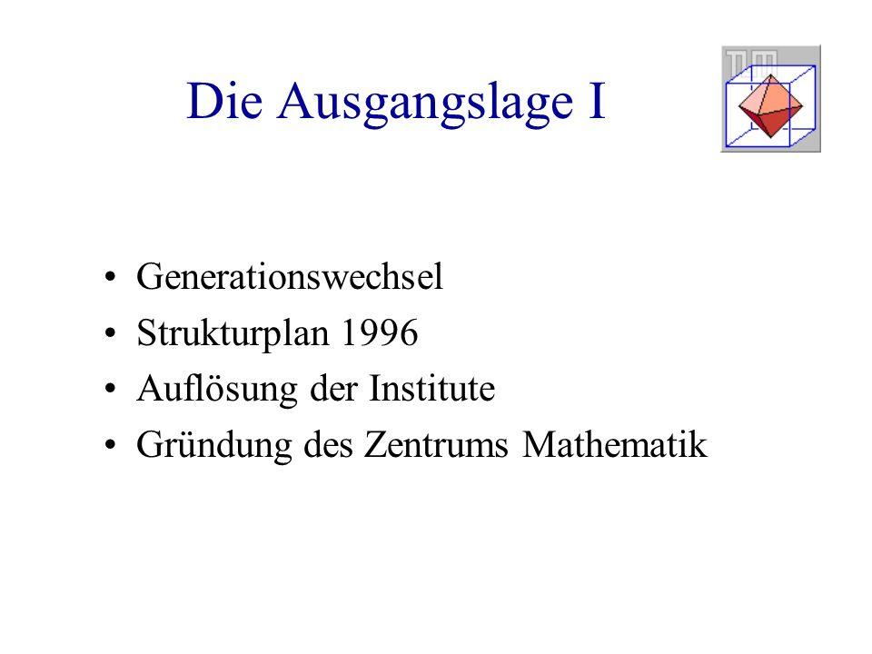 Die Ausgangslage I Generationswechsel Strukturplan 1996 Auflösung der Institute Gründung des Zentrums Mathematik