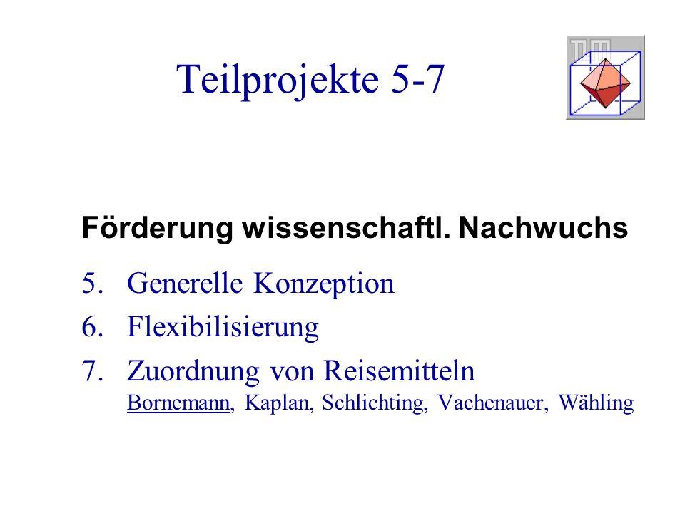 Teilprojekte 5-7 Förderung wissenschaftl.