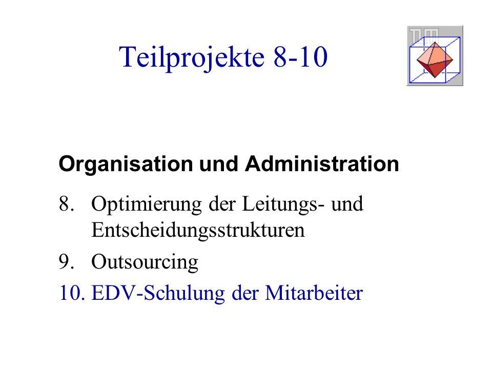 Teilprojekte 8-10 Organisation und Administration 8.Optimierung der Leitungs- und Entscheidungsstrukturen 9.Outsourcing 10.EDV-Schulung der Mitarbeiter