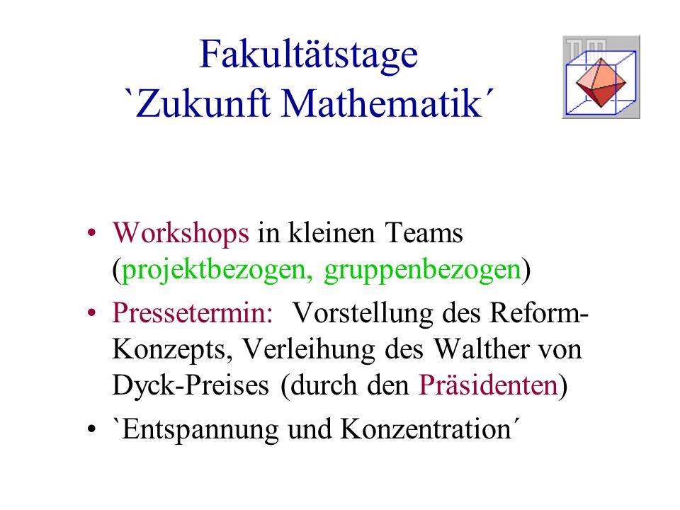 Fakultätstage `Zukunft Mathematik´ Workshops in kleinen Teams (projektbezogen, gruppenbezogen) Pressetermin: Vorstellung des Reform- Konzepts, Verleihung des Walther von Dyck-Preises (durch den Präsidenten) `Entspannung und Konzentration´