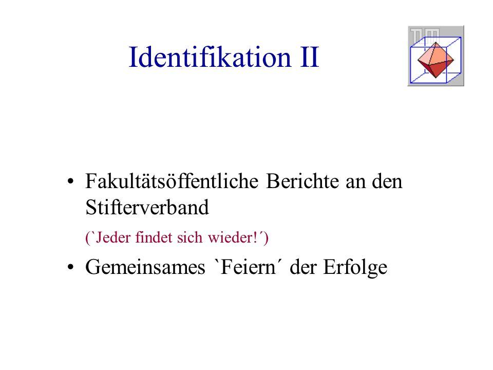 Identifikation II Fakultätsöffentliche Berichte an den Stifterverband (`Jeder findet sich wieder!´) Gemeinsames `Feiern´ der Erfolge
