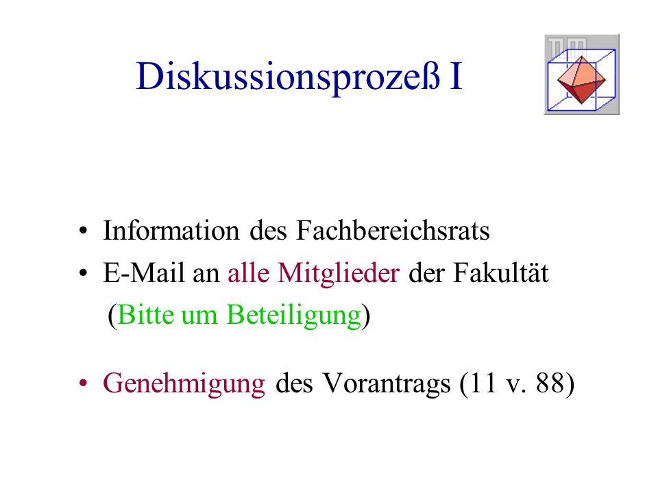 Diskussionsprozeß I Information des Fachbereichsrats E-Mail an alle Mitglieder der Fakultät (Bitte um Beteiligung) Genehmigung des Vorantrags (11 v.