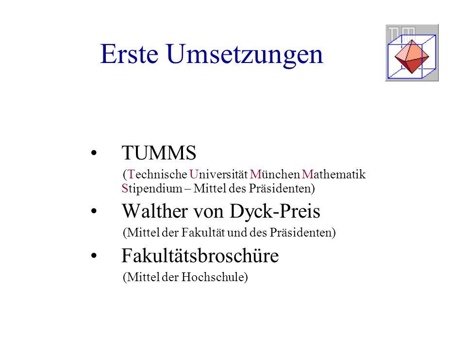 Erste Umsetzungen TUMMS (Technische Universität München Mathematik Stipendium – Mittel des Präsidenten) Walther von Dyck-Preis (Mittel der Fakultät und des Präsidenten) Fakultätsbroschüre (Mittel der Hochschule)