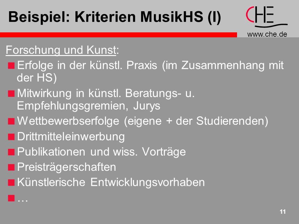 www.che.de 11 Beispiel: Kriterien MusikHS (I) Forschung und Kunst: Erfolge in der künstl. Praxis (im Zusammenhang mit der HS) Mitwirkung in künstl. Be