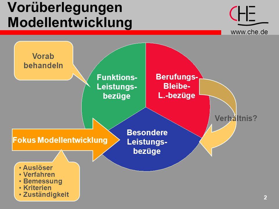 www.che.de 2 Vorüberlegungen Modellentwicklung Funktions- Leistungs- bezüge Berufungs- Bleibe- L.-bezüge Besondere Leistungs- bezüge Vorab behandeln Fokus Modellentwicklung Verhältnis.