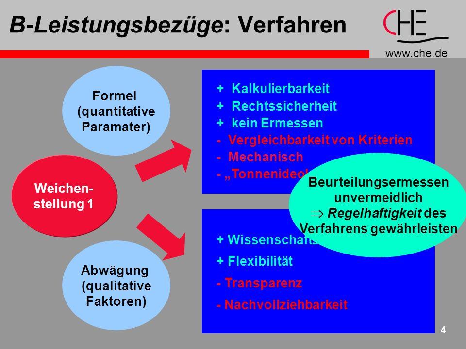 www.che.de 4 B-Leistungsbezüge: Verfahren + Kalkulierbarkeit + Rechtssicherheit + kein Ermessen - Vergleichbarkeit von Kriterien - Mechanisch - Tonnen
