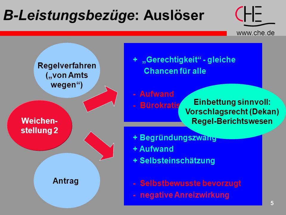 www.che.de 5 B-Leistungsbezüge: Auslöser + Gerechtigkeit - gleiche Chancen für alle - Aufwand - Bürokratismus + Begründungszwang + Aufwand + Selbsteinschätzung - Selbstbewusste bevorzugt - negative Anreizwirkung Weichen- stellung 2 Regelverfahren (von Amts wegen) Antrag Einbettung sinnvoll: Vorschlagsrecht (Dekan) Regel-Berichtswesen