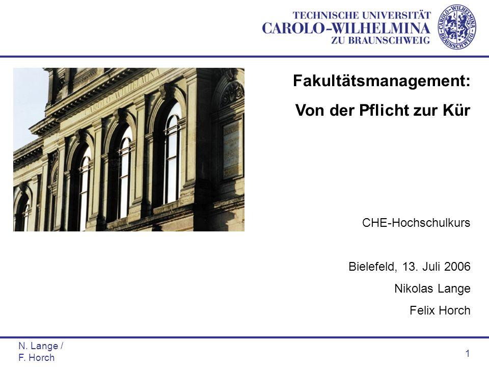 N. Lange / F. Horch 1 Fakultätsmanagement: Von der Pflicht zur Kür CHE-Hochschulkurs Bielefeld, 13. Juli 2006 Nikolas Lange Felix Horch