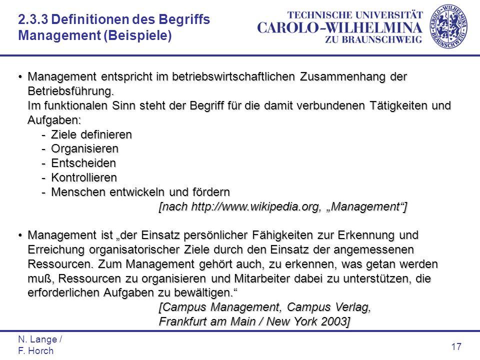N. Lange / F. Horch 17 Management entspricht im betriebswirtschaftlichen Zusammenhang der Betriebsführung. Im funktionalen Sinn steht der Begriff für