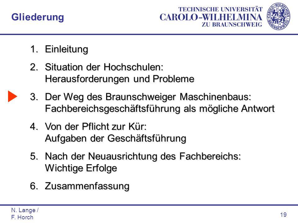 N. Lange / F. Horch 19 1.Einleitung 2.Situation der Hochschulen: Herausforderungen und Probleme 3.Der Weg des Braunschweiger Maschinenbaus: Fachbereic