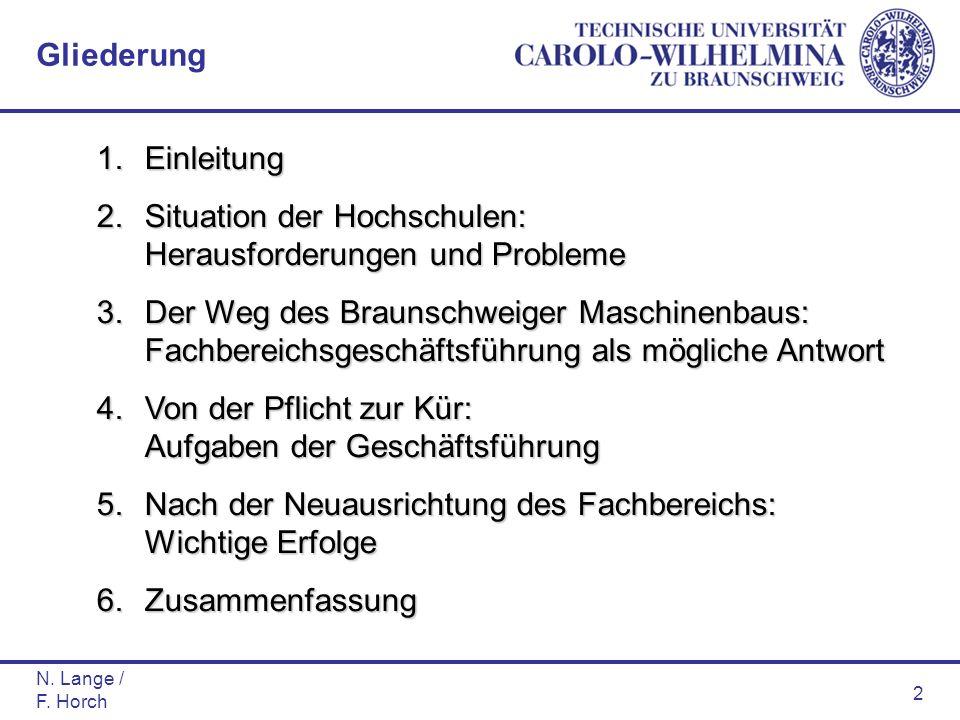 N. Lange / F. Horch 2 1.Einleitung 2.Situation der Hochschulen: Herausforderungen und Probleme 3.Der Weg des Braunschweiger Maschinenbaus: Fachbereich