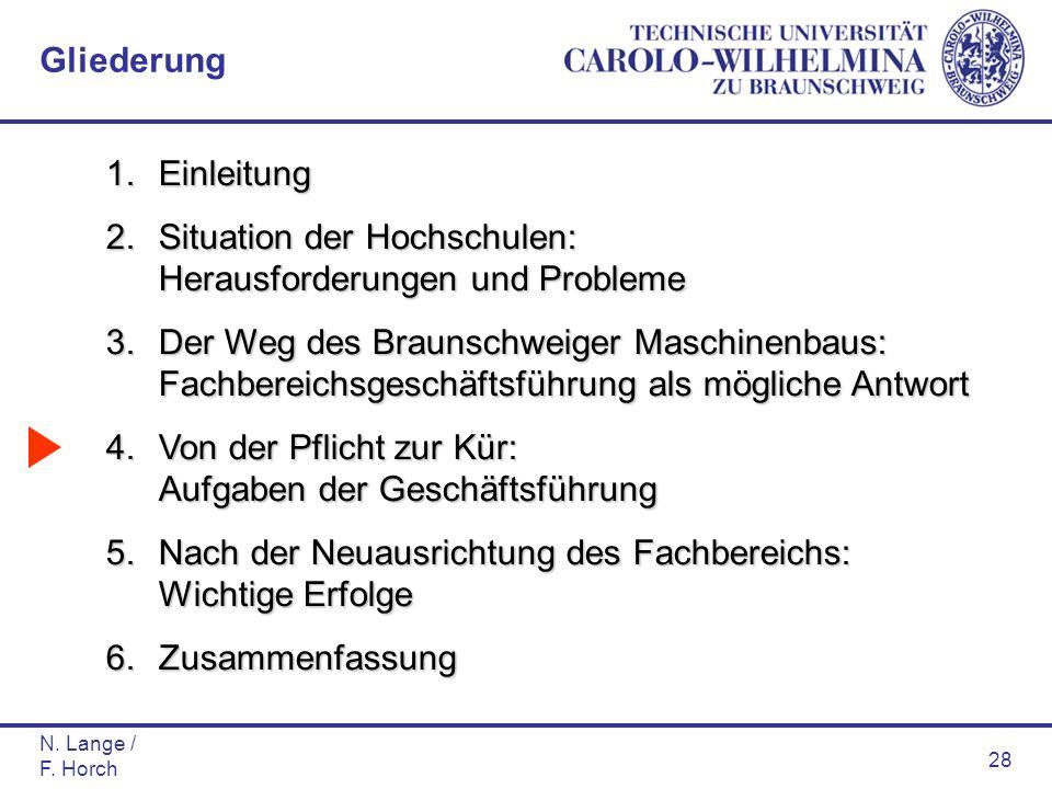N. Lange / F. Horch 28 1.Einleitung 2.Situation der Hochschulen: Herausforderungen und Probleme 3.Der Weg des Braunschweiger Maschinenbaus: Fachbereic