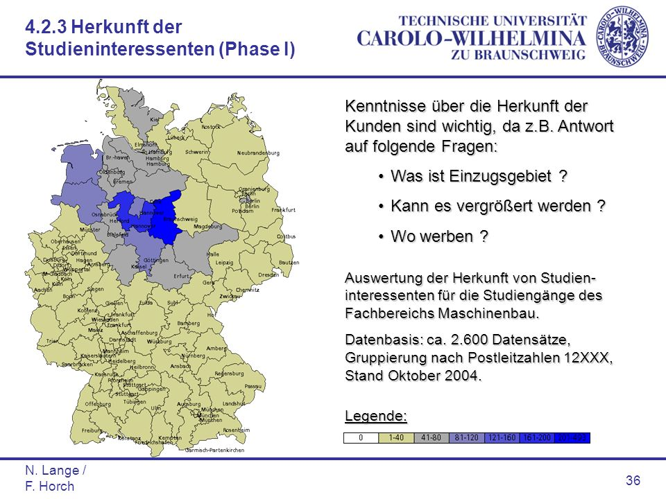 N. Lange / F. Horch 36 Auswertung der Herkunft von Studien- interessenten für die Studiengänge des Fachbereichs Maschinenbau. Datenbasis: ca. 2.600 Da